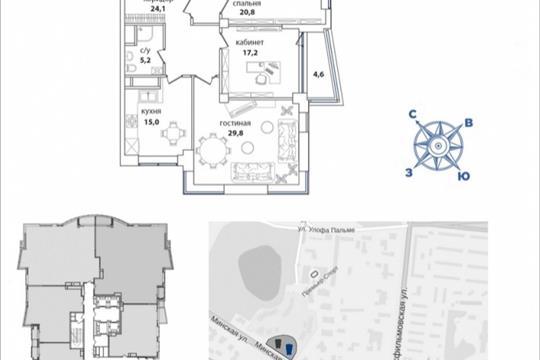 4-комнатная квартира, 161.1 м<sup>2</sup>, 36 этаж