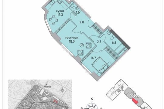 2-комнатная квартира, 67.5 м<sup>2</sup>, 25 этаж