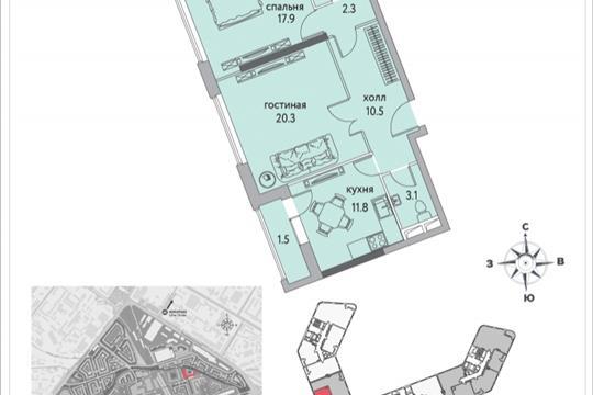 2-комнатная квартира, 74.8 м<sup>2</sup>, 2 этаж