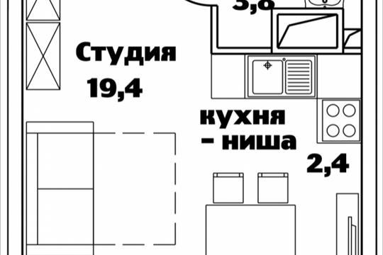 1-комнатная квартира, 25.6 м<sup>2</sup>, 13 этаж