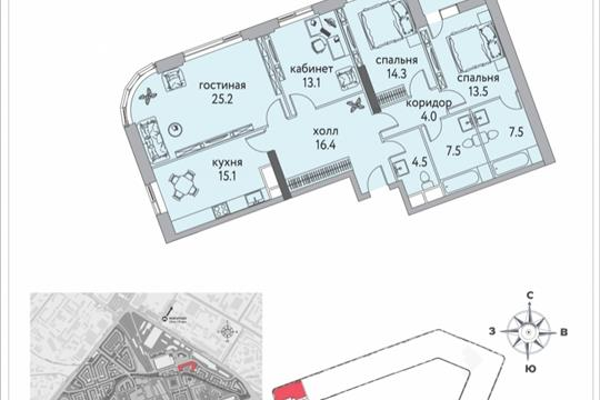 4-комнатная квартира, 127.3 м<sup>2</sup>, 17 этаж