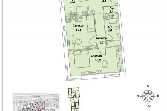 2-комнатная квартира, 67.7 м<sup>2</sup>, 17 этаж