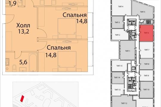 2-комнатная квартира, 75.6 м<sup>2</sup>, 13 этаж