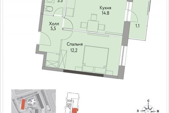 1-комнатная квартира, 37.8 м<sup>2</sup>, 25 этаж
