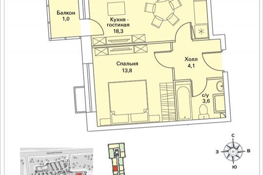 1-комнатная квартира, 40.9 м<sup>2</sup>, 16 этаж