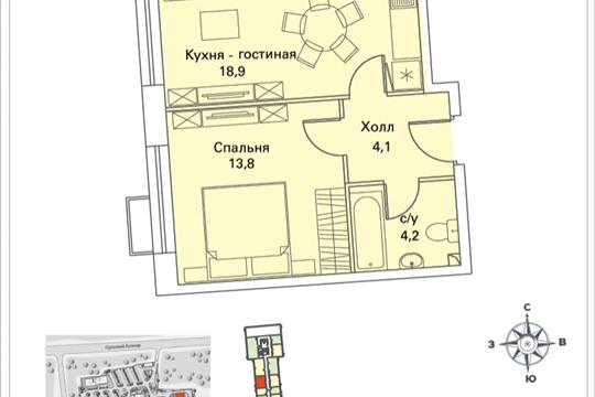 1-комнатная квартира, 41.1 м<sup>2</sup>, 2 этаж