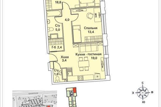 2-комнатная квартира, 68.5 м<sup>2</sup>, 17 этаж