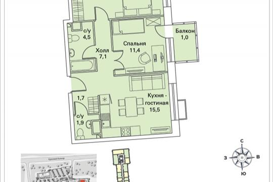 2-комнатная квартира, 59.8 м<sup>2</sup>, 8 этаж