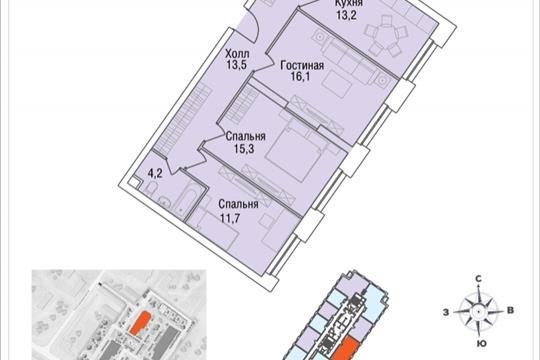 3-комнатная квартира, 76.8 м<sup>2</sup>, 25 этаж