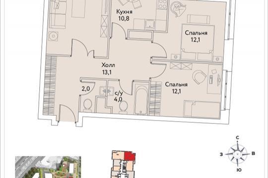 3-комнатная квартира, 71.4 м<sup>2</sup>, 29 этаж