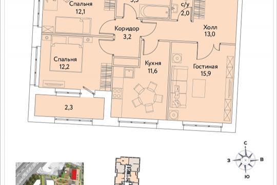 3-комнатная квартира, 77.9 м<sup>2</sup>, 33 этаж