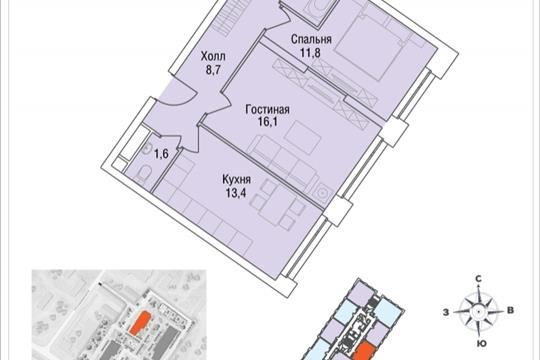 2-комнатная квартира, 56.2 м<sup>2</sup>, 10 этаж