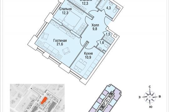 3-комнатная квартира, 76.2 м<sup>2</sup>, 19 этаж