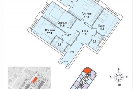 3-комнатная квартира, 86.6 м<sup>2</sup>, 14 этаж