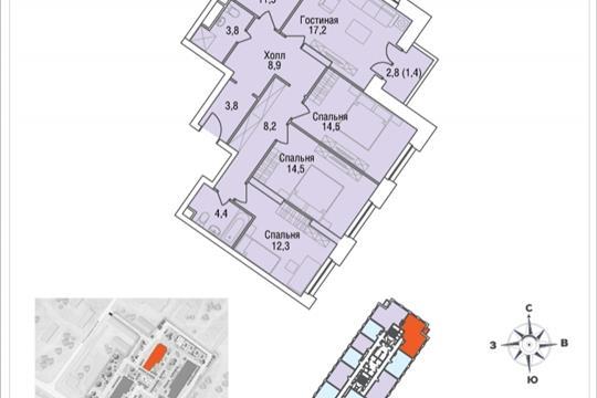 4-комнатная квартира, 99.1 м<sup>2</sup>, 10 этаж