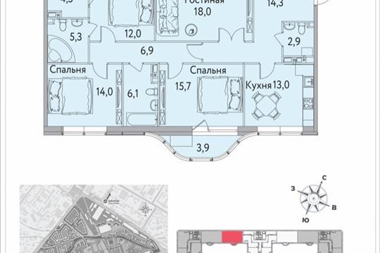 4-комнатная квартира, 119.5 м<sup>2</sup>, 9 этаж