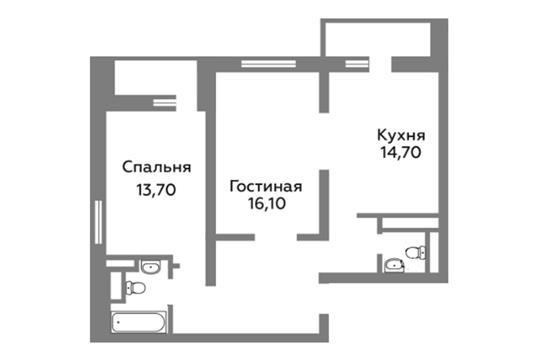 2-комн квартира, 67.9 м2, 22 этаж