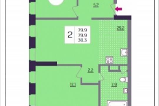 2-комнатная квартира, 79.9 м<sup>2</sup>, 7 этаж