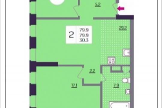 2-комнатная квартира, 79.9 м<sup>2</sup>, 14 этаж