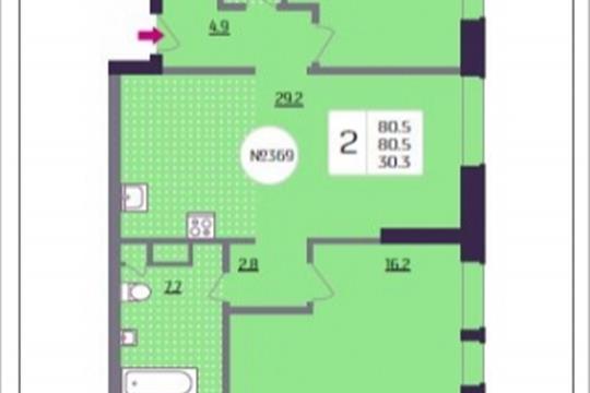 2-комнатная квартира, 80.5 м<sup>2</sup>, 21 этаж