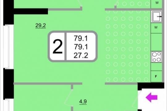 2-комнатная квартира, 79.1 м<sup>2</sup>, 17 этаж