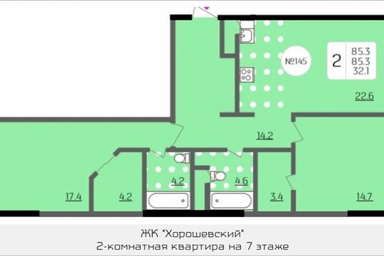 2-комнатная квартира, 85.3 м<sup>2</sup>, 7 этаж