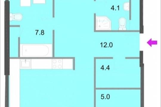 3-комнатная квартира, 112.7 м<sup>2</sup>, 17 этаж
