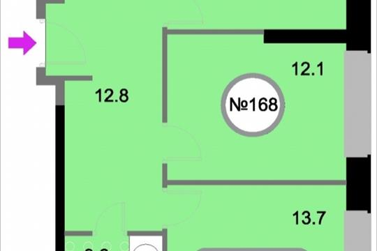 2-комнатная квартира, 58.2 м<sup>2</sup>, 22 этаж