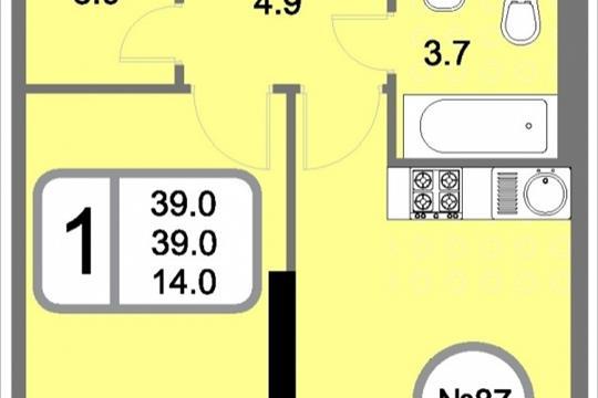 1-комнатная квартира, 39 м<sup>2</sup>, 19 этаж