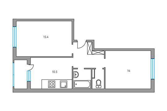 2-комнатная квартира, 53.3 м<sup>2</sup>, 3 этаж