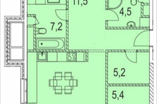 3-комнатная квартира, 119.5 м<sup>2</sup>, 12 этаж