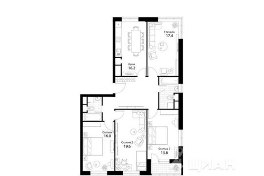 4-комнатная квартира, 113.4 м2, 2 этаж