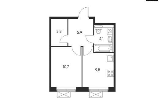 1-комнатная квартира, 34.4 м<sup>2</sup>, 17 этаж