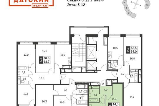 1-комнатная квартира, 33.6 м<sup>2</sup>, 8 этаж