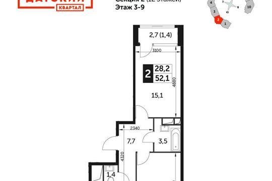 2-комнатная квартира, 52.1 м<sup>2</sup>, 6 этаж