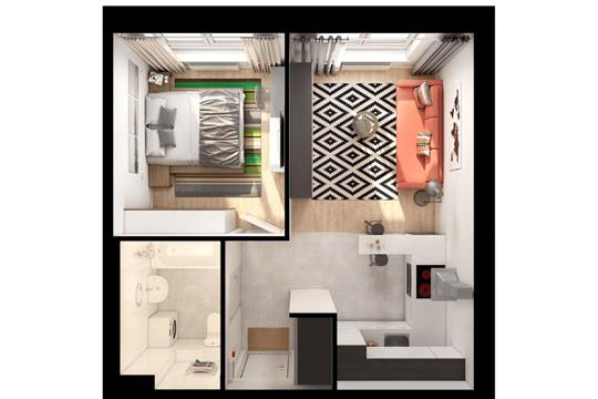2-комнатная квартира, 35.8 м<sup>2</sup>, 15 этаж
