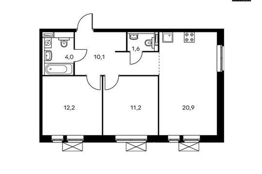 2-комнатная квартира, 59.9 м<sup>2</sup>, 18 этаж