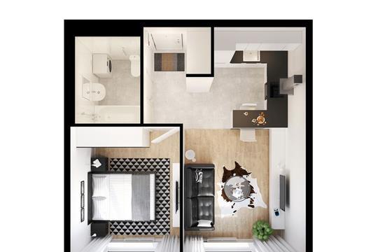 1-комнатная квартира, 36.19 м<sup>2</sup>, 2 этаж