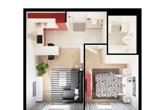 1-комнатная квартира, 40.18 м<sup>2</sup>, 4 этаж