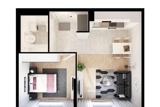 1-комнатная квартира, 44.99 м<sup>2</sup>, 2 этаж