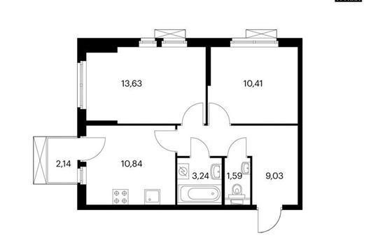 2-комнатная квартира, 49.38 м<sup>2</sup>, 7 этаж
