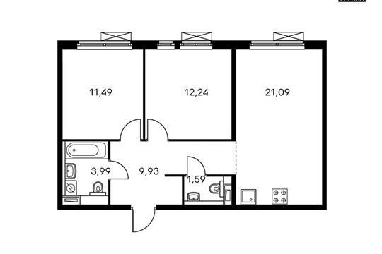 2-комнатная квартира, 60.33 м<sup>2</sup>, 2 этаж