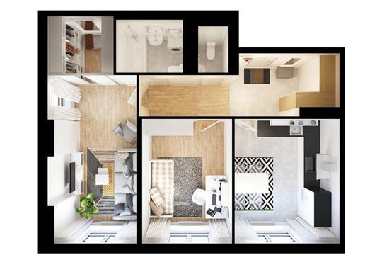 2-комнатная квартира, 61.15 м<sup>2</sup>, 7 этаж