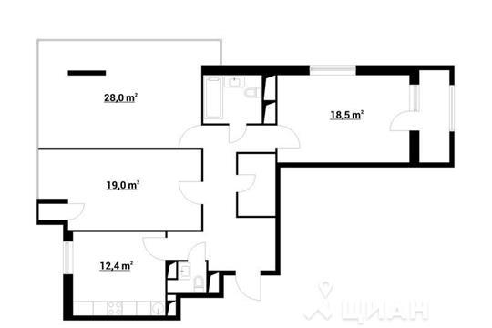 3-комнатная квартира, 103.91 м<sup>2</sup>, 19 этаж