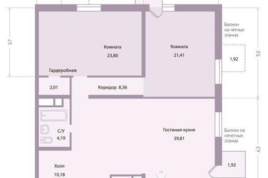 3-комнатная квартира, 112 м<sup>2</sup>, 2 этаж