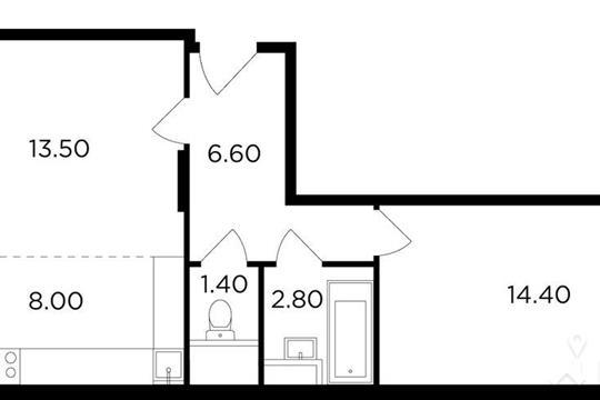 2-комнатная квартира, 49.6 м<sup>2</sup>, 2 этаж
