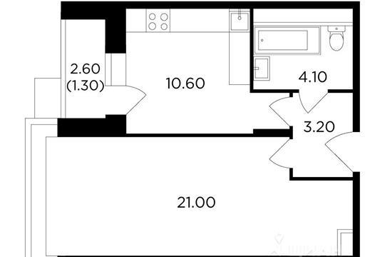 1-комнатная квартира, 40.2 м<sup>2</sup>, 6 этаж