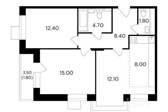 3-комнатная квартира, 64.2 м<sup>2</sup>, 2 этаж