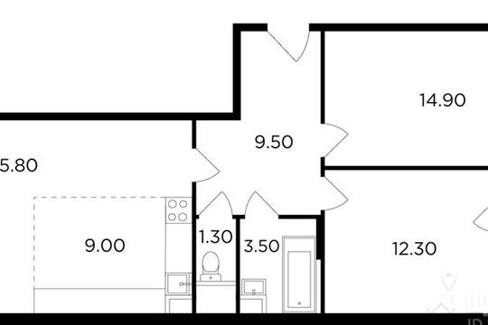 3-комнатная квартира, 67.6 м<sup>2</sup>, 14 этаж