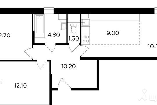 3-комнатная квартира, 61.9 м<sup>2</sup>, 8 этаж